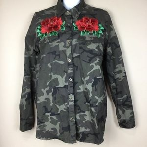 Love Tree Green Camo Shirt Red Rose Embellished